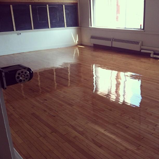 The hardwood floors being finished at today 39 s for Hardwood floors kalamazoo